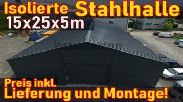 15x25x5m Isolierte Stahlhalle Werkstatt Gewerbehalle Lagerhalle