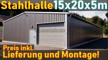 15x20x5m Stahlhalle - Gewerbehalle Lagerhalle Werkstatt NEU