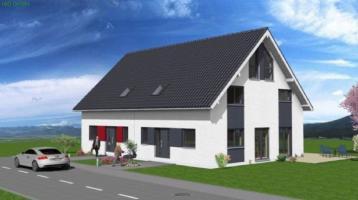 Doppelhaushälften auf Bodenplatte (Massivhaus Stein auf Stein KfW70)