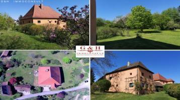 ***Repräsentative, gänzlich renovierte und sanierte Schlossanlage mit geräumigen Gästehaus und Stall auf großzügigem Grundstück*** VIELSEITIG NUTZBAR